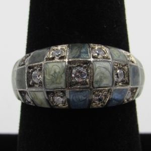 Vintage Size 8 Sterling Rustic CZ Diamond Ring
